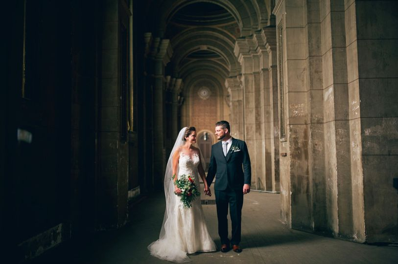 Newlyweds in the corridor
