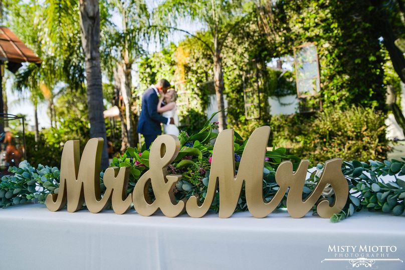 Newlyweds by the sign