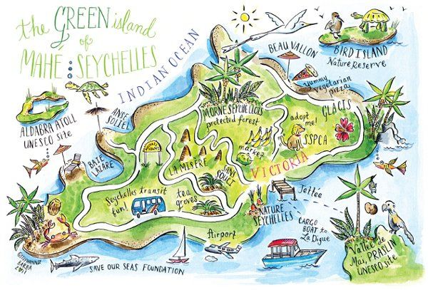 Illustrated map of Mahe, Seychelles.