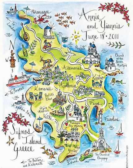 Illustrated map of Sifnos, Greece.