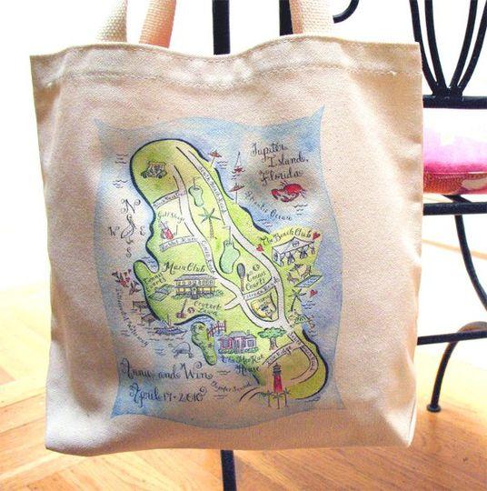 Destination wedding in Jupiter Island, Florida organic tote bag