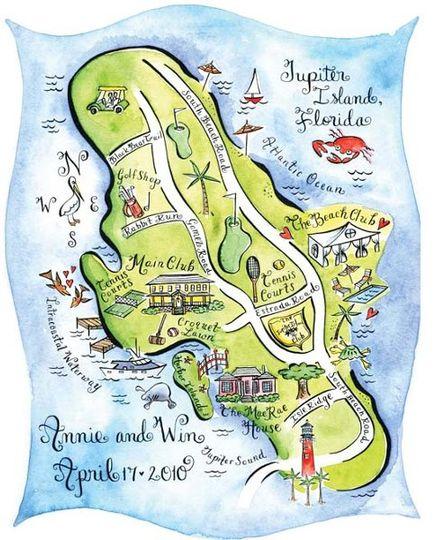 Illustrated map for a destination wedding at Jupiter Island, Florida.