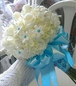 White hydrangea, roses, & gem accented stephanotis