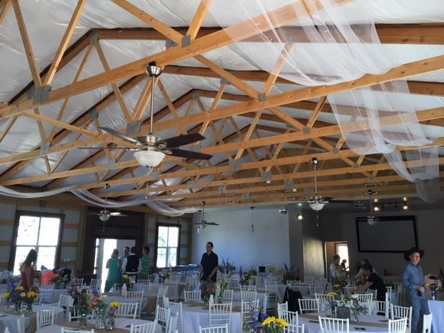 Barn interior, thule in rafters with sparkling lights.