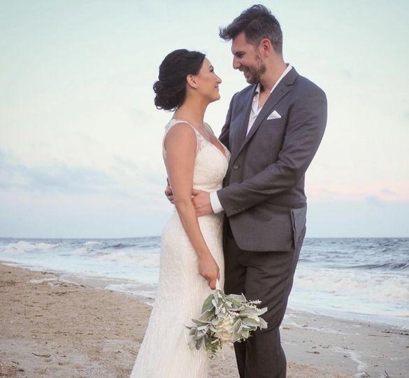 Beach wedding hair and makeup