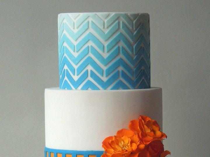 Tmx 1371016868160 Blue Chevron Seattle wedding cake