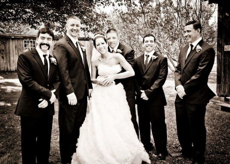 Couple with groomsmen