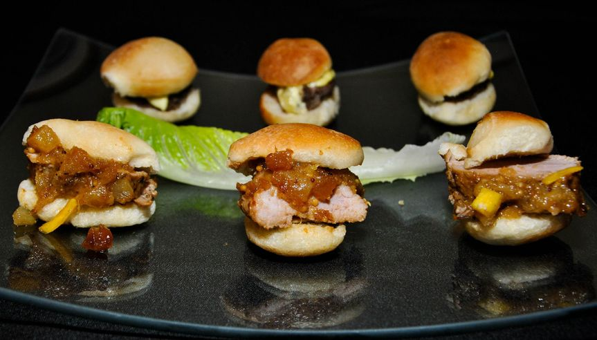 Island pork tenderloin with pineapple mango chutney sliders