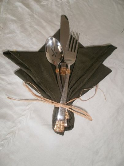 Napkin setting designed for a nature themed wedding