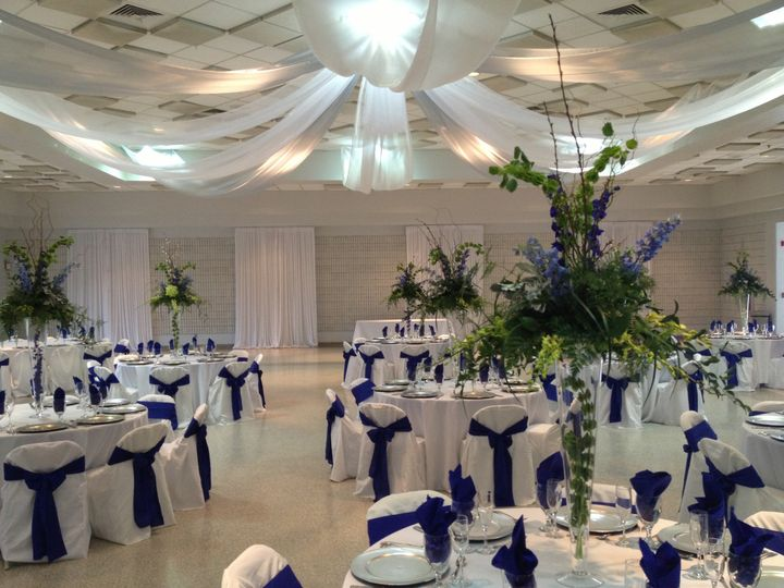 Reception hall and blue decor