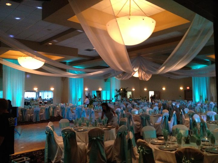 Blue reception hall uplighting