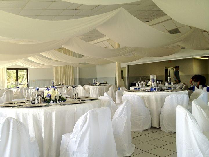 Elegant white reception hall setup