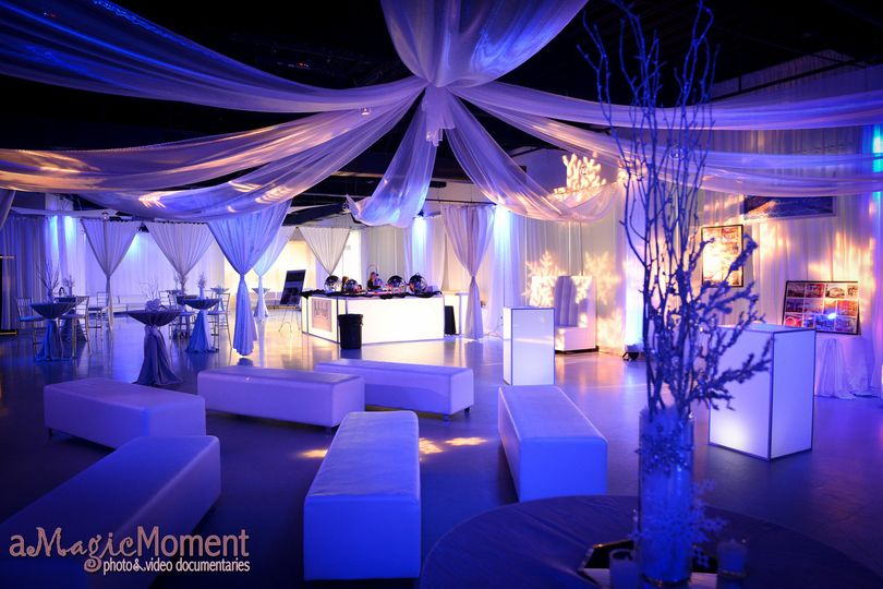 Reception lounge and cocktail setup