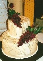 2 TIER BRIDAL SHOWER CAKE WITH SUGAR GRAPES & HAND PAINTED GOLD VEINING