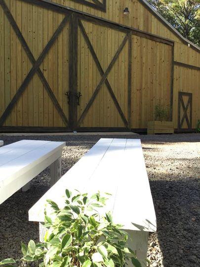 White wedding benches