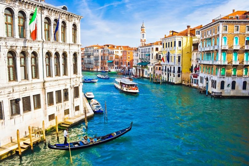 beautiful water street grand canal in venice italy