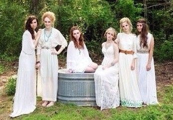Outdoor shoot with bride and bridesmaids