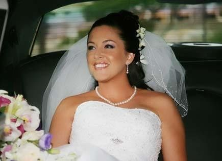 Bride inside the car