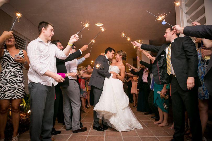 Bride & groom exit to fireworks