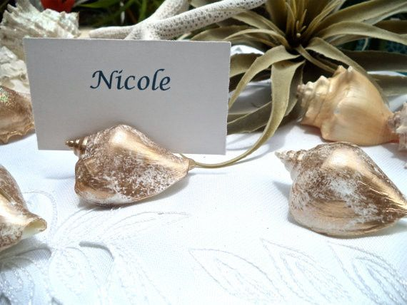 Beach Nautical Place Card Holder.  Gold Antique Brush.