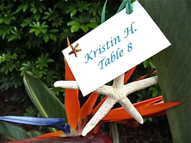 Starfish Place Card... This is great because it's also a wedding favor.  Can be personalized.