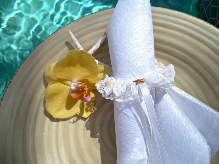 Beach Wedding Napkin Ring.  This is how you bring the beach theme and still keep your event elegant.