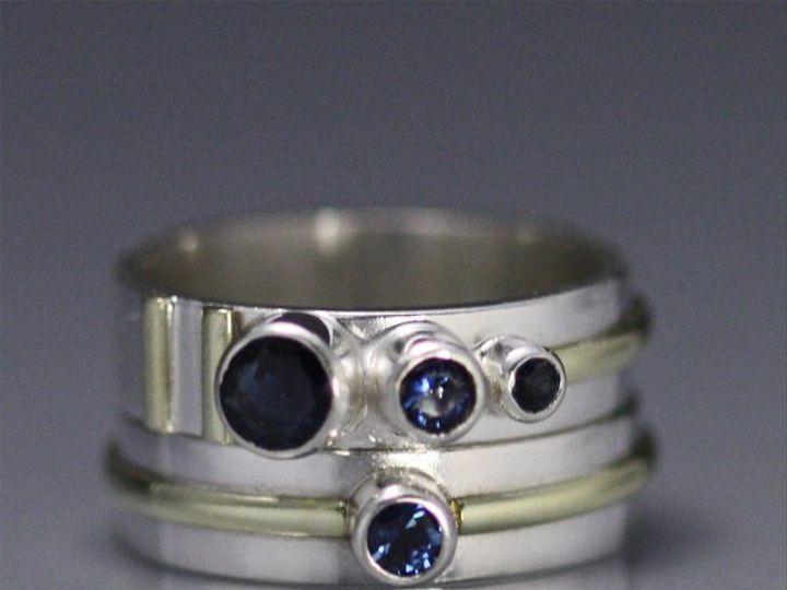 Tmx 1325725501321 3StoneSequenceRingstack14kSapphire Mount Vernon wedding jewelry