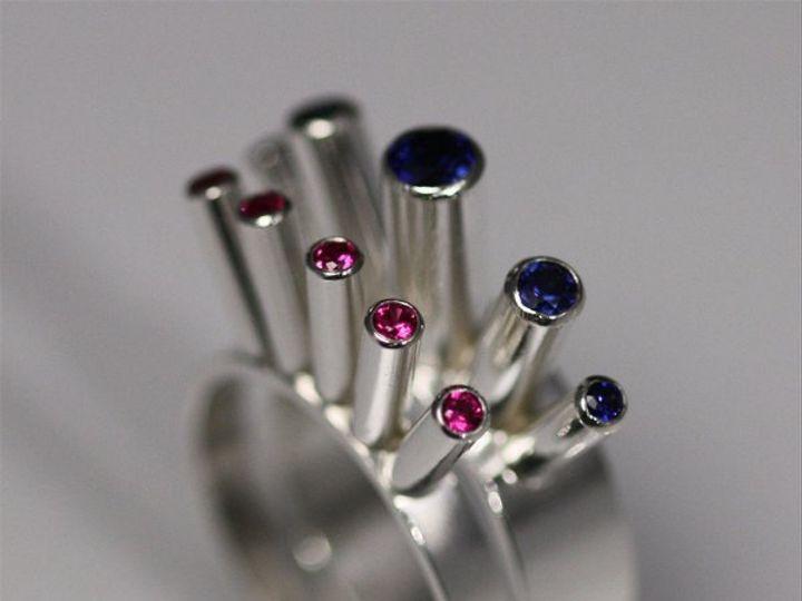 Tmx 1325725507914 5StoneCrownRingTallSapphire3 Mount Vernon wedding jewelry