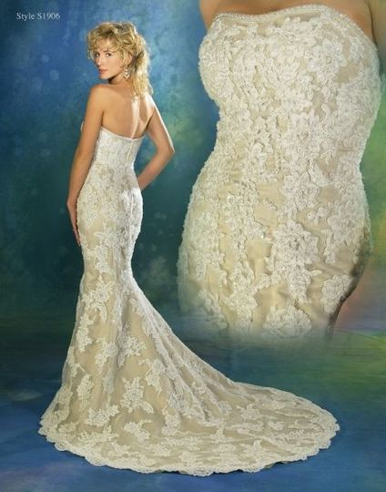 Lovely all over lace gown from Symphony Bridal.  This gown retails for under $1000!  Our sample gown...