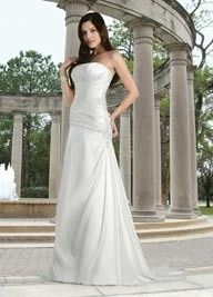 Beautiful silky charmuese gown from Davinci Bridal.  Our sample gown is size 16 in white.  Orders...