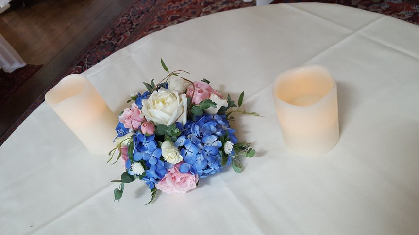 Table centerpiece and candles