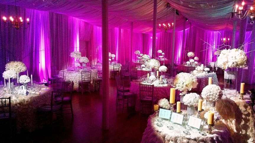 Pink uplights and table spotlights