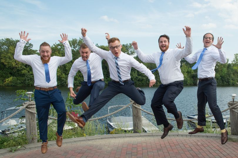 Fun photo with Groomsmen at Water Edge Lighthouse, Schenectady NY