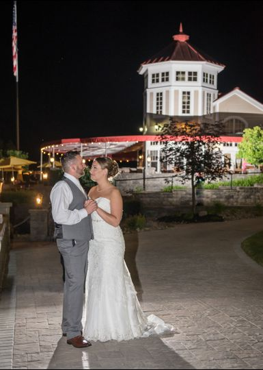 Nighttime shot during the wedding reception at Waters Edge Lighthouse, Schenectady NY