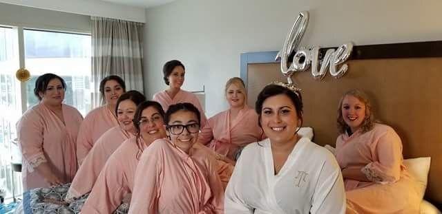 Bride and entourage in preparation room
