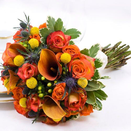 Fall Wedding Collection - Bridal Bouquet  Arranged wedding Flowers by The Grower's Box