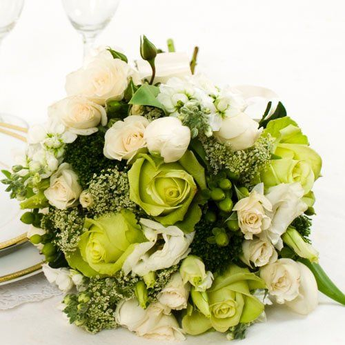 Green Wedding Collection - Bridal Bouquet  Arranged Wedding Flowers by The Grower's Box