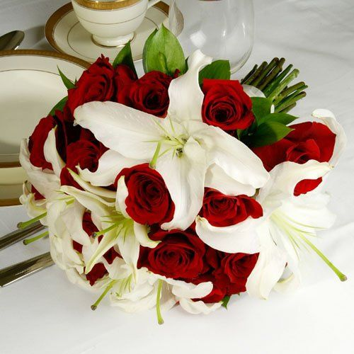 Red & White Wedding Collection - Bridal Bouquet  Arranged Wedding Flowers by The Grower's Box