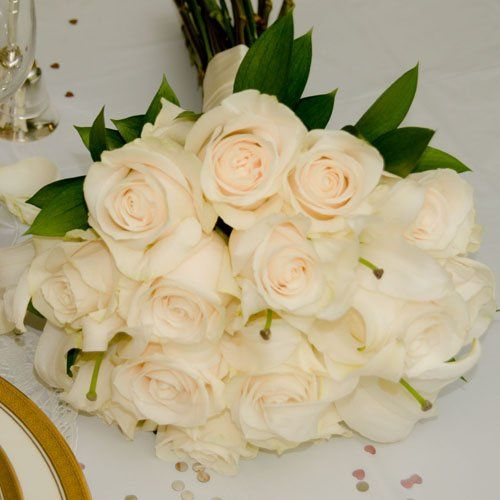 White Wedding Collection - Bridal Bouquet  Arranged Wedding Flowers by The Grower's Box