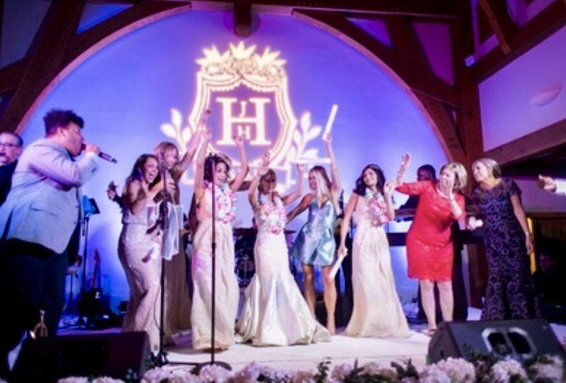 Bride w/ her girls on stage.