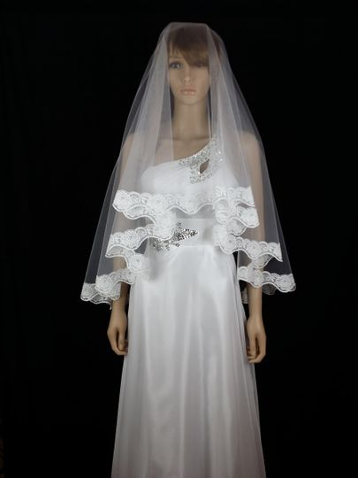 CHARLOTTE - Elegant double layered tulle veil finished with soft delicate lace edging in a detailed...