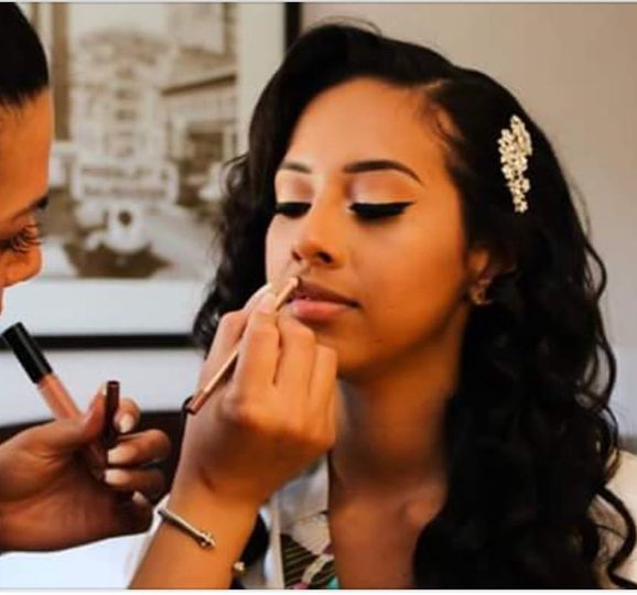 Bride and makeup artist