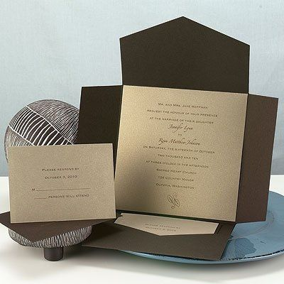 You'll receive a colorful Chocolate envelopment and a square gold shimmer invitation card printed...