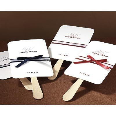 Keep guests refreshingly cool by providing them with these elegant fan mementos! White cards are...