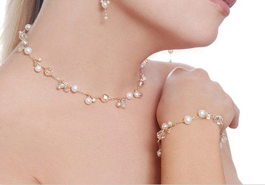 Crystal and Freshwater Pearl Cascade Necklace and Bracelet in Champagne