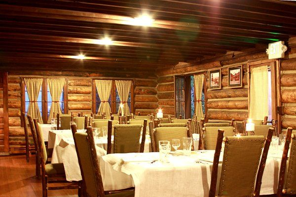 The dinning room with the cabin is a great location for a rehearsal dinner. It holds 40 people.