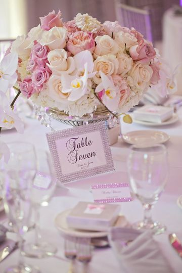 Table card and floral decor