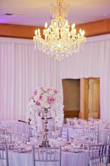 Chandelier over table and centerpiece
