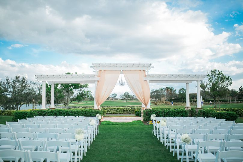 Ceremony With Tan Drapes