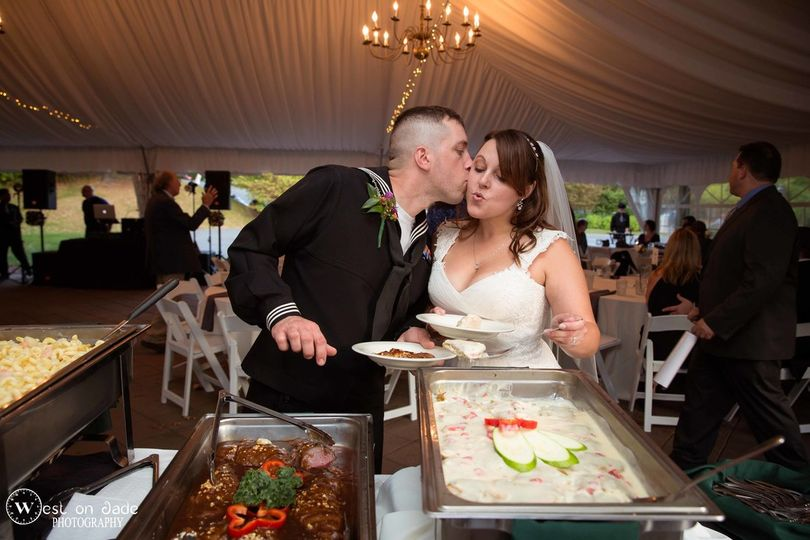 Happy newlyweds - Log Rolling Catering